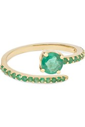 Ileana Makri Grass Seed 18 Karat Gold Emerald Ring 6
