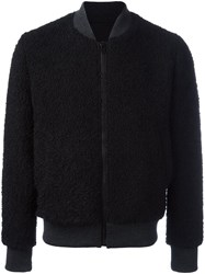 Msgm Contrast Texture Bomber Jacket Black