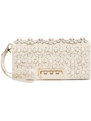 Zac Posen Flower Embellished Clutch White