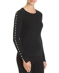 Bloomingdale's C By Embellished Sleeve Cashmere Sweater 100 Exclusive Black