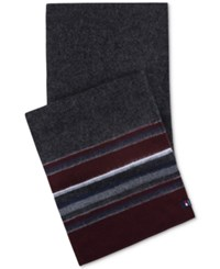 Tommy Hilfiger Men's Striped Scarf Burgundy