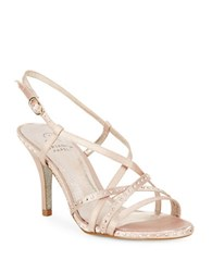 Adrianna Papell Acacia Satin Stiletto Sandals Gold