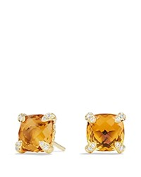 David Yurman Chatelaine Earrings With Citrine In 18K Gold Honey Gold