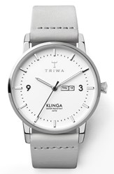 Triwa Snowy Klinga Leather Strap Watch 38Mm White Silver