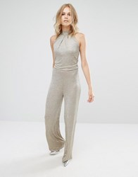 Mango Metallic Gold Halter Neck Jumpsuit Gold Black