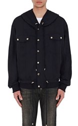 Balmain Men's French Terry Zip Front Hoodie Black