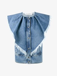 Philosophy Di Lorenzo Serafini Sleeveless Frayed Denim Jacket Blue