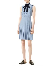 Gucci Sleeveless Pleated Dress Dusty Blue