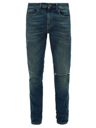 Saint Laurent Ripped Slim Leg Jeans Dark Blue