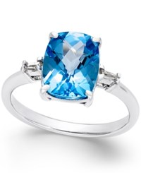 Macy's Swiss Blue Topaz 3 3 4 Ct. T.W. And Diamond Accent Ring In Sterling Silver