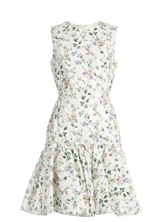 Giambattista Valli Floral Print Sleeveless Faille Dress White Print