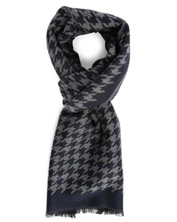Hartford Grey And Blue Houndstooth Silk And Wool Scarf