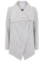 Mint Velvet Silver Grey Funnel Neck Biker Coat Grey