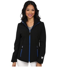 Nautica Hooded Softshell Jacket Black Princess Blue Women's Coat