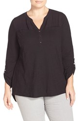 Plus Size Women's Two By Vince Camuto Mixed Media Henley Shirt Rich Black
