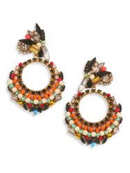 Erickson Beamon Safari Faux Pearl And Crystal Cluster Earrings Multi