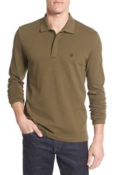 Victorinox Swiss Armyr Men's Army Tailored Fit Long Sleeve Zip Polo Spartan Green Heather