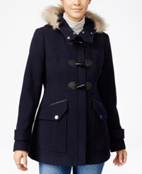 Maralyn And Me Faux Fur Trim Hooded Toggle Coat Navy