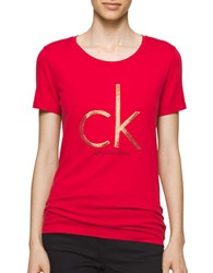 Calvin Klein Jeans Solid Short Sleeve Tee Red