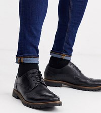Base London Wide Fit Grundy Brogues In Waxy Black