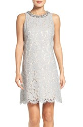 Eliza J Women's Bejeweled Neck Lace Shift Dress Grey Nude