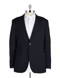Black Brown Wool Blend Blazer Navy