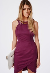 Missguided Aime Suede Asymmetric Necklace Trim Bodycon Dress Raspberry Red