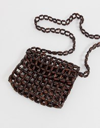 Mango Beaded Shoulder Bag In Brown