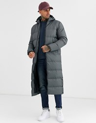 Soul Star Longline Puffer Jacket In Grey