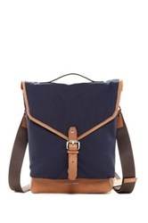 Cole Haan Waxed Canvas And Leather Small Messenger Blue