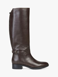 Geox 'S Felicity Leather Buckle Knee Boots Brown