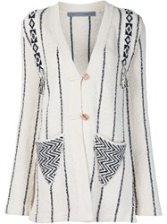 Raquel Allegra Vintage Style Knitted Cardigan Nude And Neutrals
