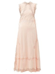Loewe Lace Insert Crinkled Dress Light Pink
