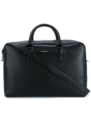 Dolce And Gabbana Leather Weekend Bag Black Silver