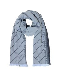 Tory Burch Diagonal Stripes And Signature Double T Logo Fringed Scarf Blue