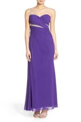 Jump 'Ella' Embellished One Shoulder Gown Purple