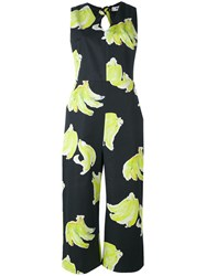 Msgm Bananas Print Jumpsuit Women Cotton 42 Black