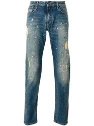 Armani Jeans Distressed Paint Splatter Blue