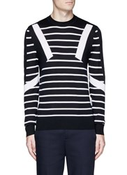 Neil Barrett 'Retro Modernist' Stripe Intarsia Wool Sweater Multi Colour