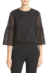 Tibi Women's Bell Sleeve Cotton Eyelet Crop Top