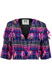 Milly Cropped Boucl And Eacute Tweed Jacket Purple