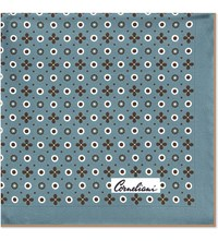 Corneliani Circle Flower Silk Pocket Square Aqua