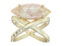 Kendra Scott Rosemary Ring Gold Crackle Brown Mother Of Pearl White Cz Ring
