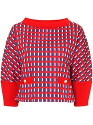 Chanel Vintage Tricolour Boat Neck Top Red