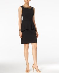 Connected Petite Embellished Peplum Sheath Dress Black Gold