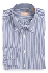 Gitman Regular Fit Bengal Stripe Cotton Broadcloth Button Down Dress Shirt Navy