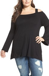 Bobeau Plus Size Women's Bell Sleeve Cold Shoulder Tee