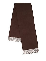 Saks Fifth Avenue Woven Cashmere Fringe Scarf Dark Brown