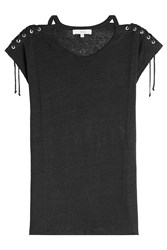 Iro Linen T Shirt With Lace Up Detail Black