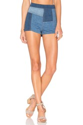 Free People Patched High And Tight Short Dark Denim